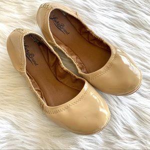 Lucky Brand Erin Patent Tan Folding Ballet Flats